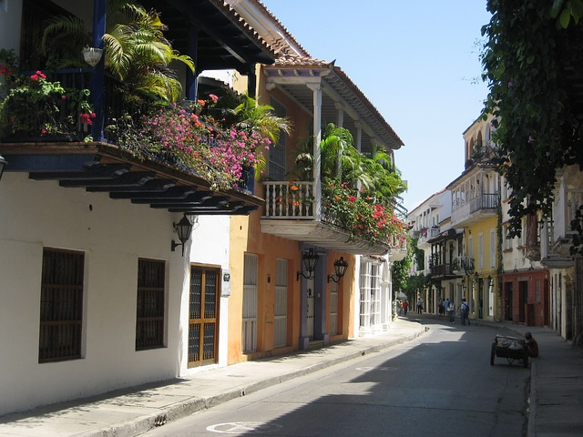 Free cartagena colombia old shadow street balconies