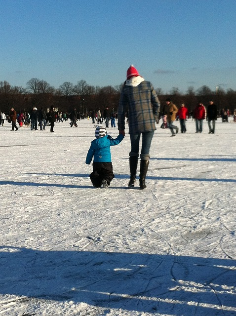 Free mother son child winter ice snow frozen see