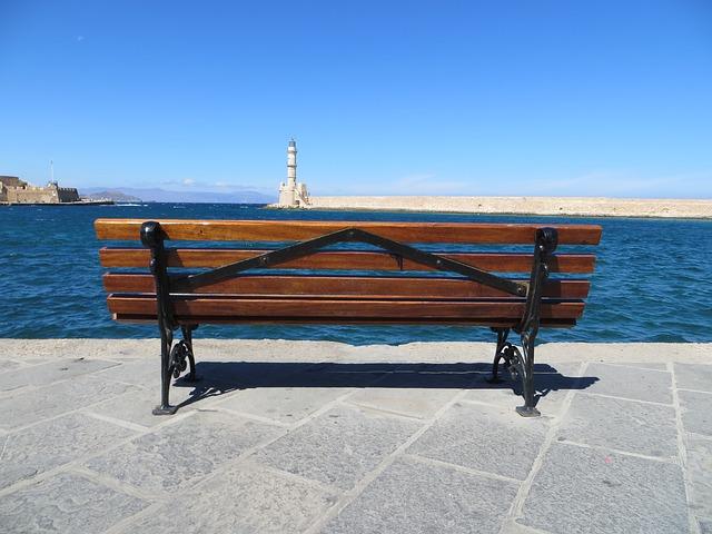 Free bench sea crete promenade