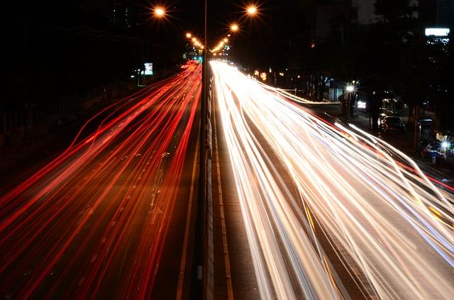 Free traffic lights road street night drive