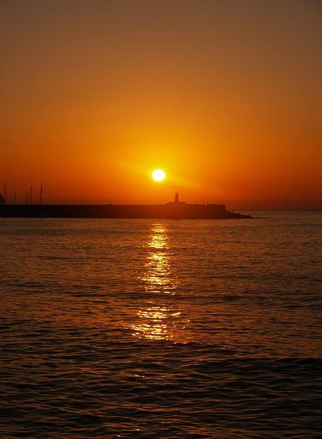 Free dawn sea port orange sun calm peace of mind
