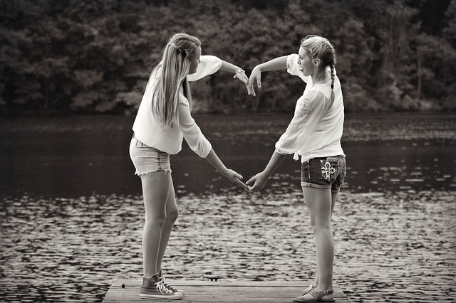 Free girls friends heart adorable black white lake