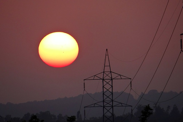 Free sunset electric pylon electric tower shimoga