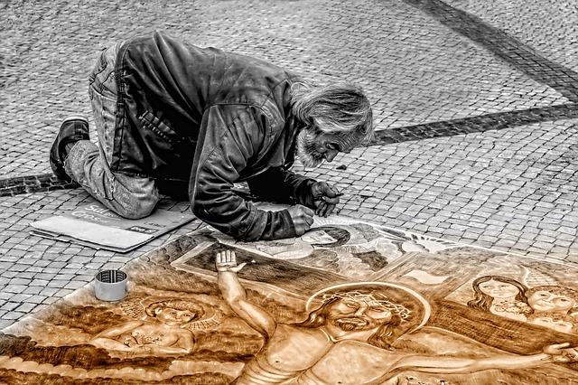 Free               man artist street painter painting art people
