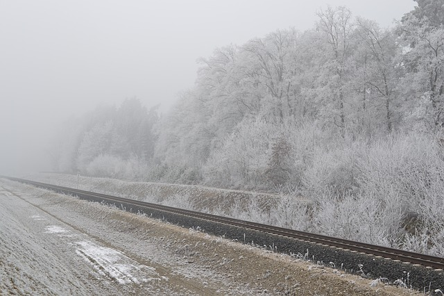 Free railway train railroad track fog hoarfrost autumn