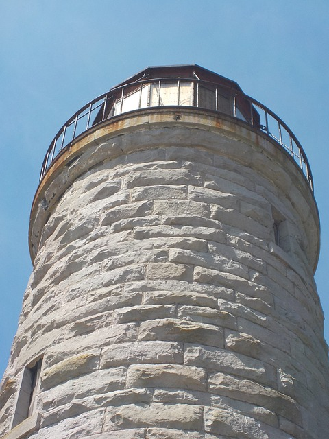 Free lighthouse closeup stone perspective sky