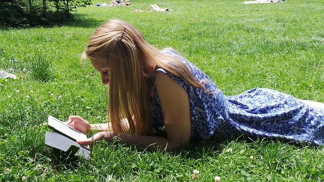 Free read e reader park sun summer relax grass