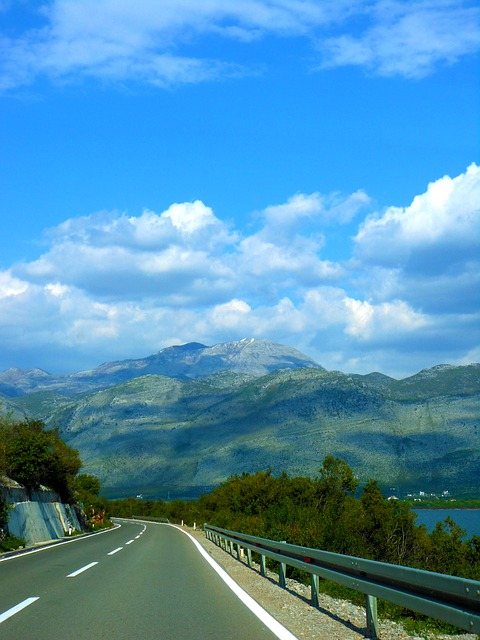Free road mountain albania sky clouds