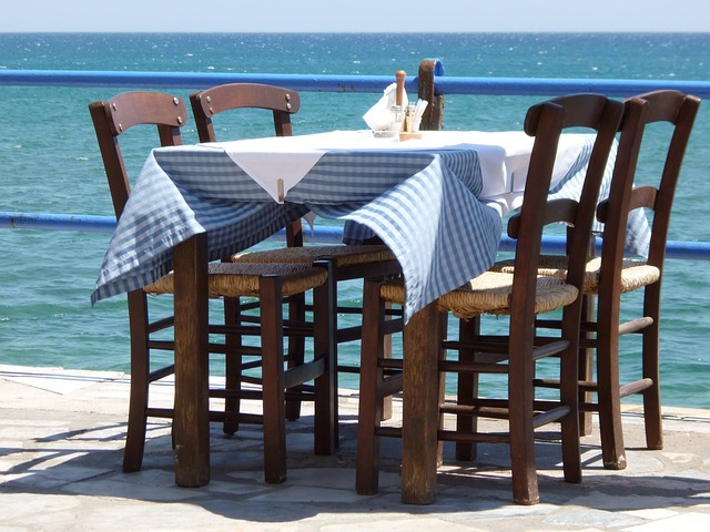 Free table wood seat chair sea blue summer holiday