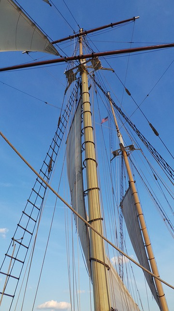 Free sailing mast sailing boat sailing ship water blue