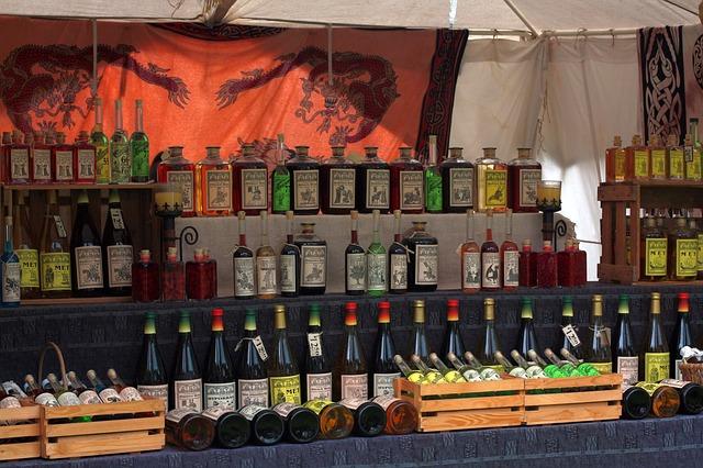 Free middle ages market castle wines wine stand liqueur