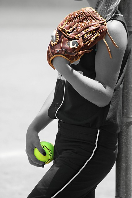 Free               girl player ball glove recreation game sports