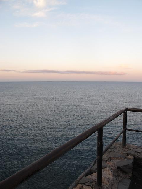 Free sunset handrail blue red sky
