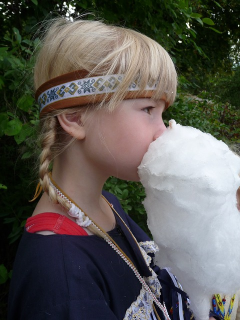 Free girl indians carnival cotton candy blond child