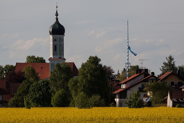 Free church onion dome baroque upper bavaria rural