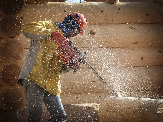 Free log building house style wooden worker chainsaw