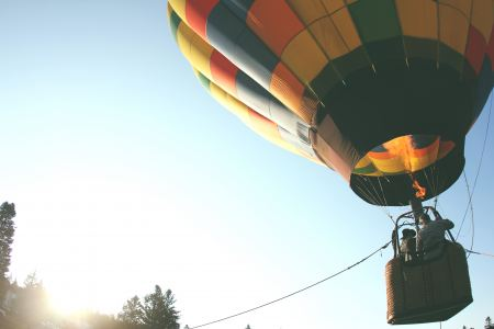 Free Hot air balloon flying with people