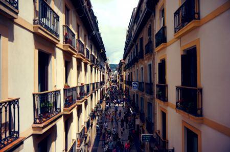 Free Crowded street between two buildings