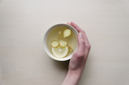 Free Cup of tea with lemon pieces