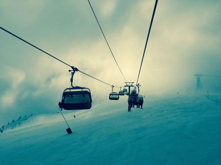 Free Ski lifts on top of the mountain