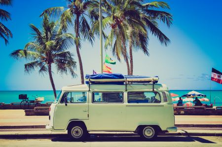 Free Vintage van on a beach