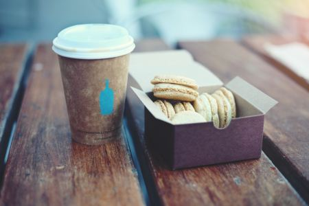 Free Cookies and coffee on wood table