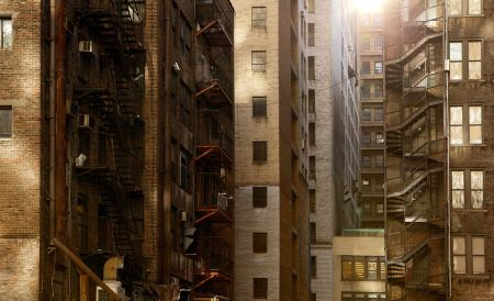 Free Sunlight over buildings with fire escapes