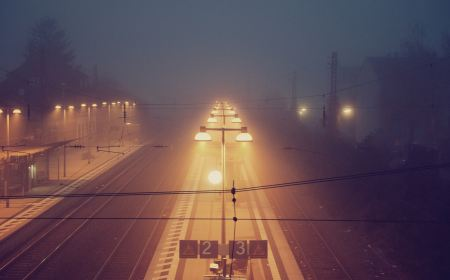 Free Lighted train station on a foggy night