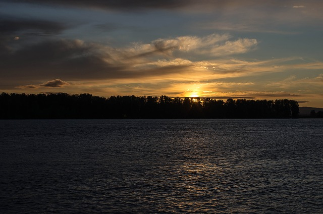 Free sunset water clouds river