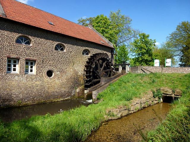 Free netherlands landscape mill building stream water
