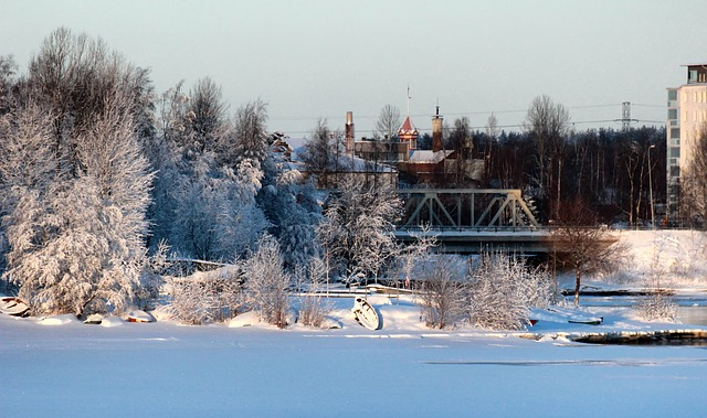 Free oulu finland bridge buildings lake frozen trees