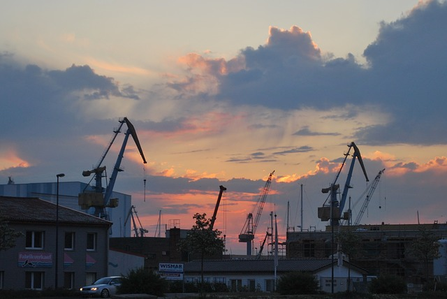 Free Photos: Clouds sky cloud crane cranes baukran port | Hannelore Louis