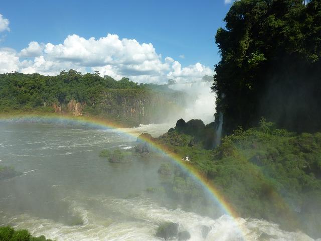 Free argentina iguazu rainbow waterfall
