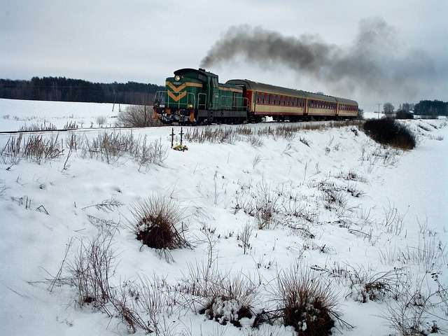 Free poland landscape trees scenic winter snow train