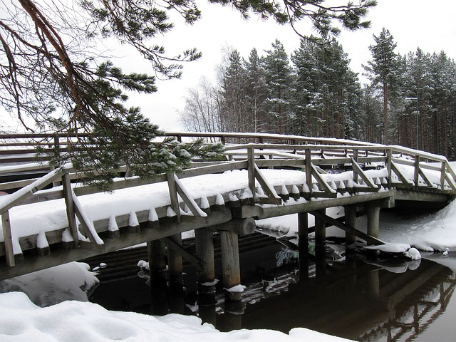 Free finland bridge stream river water architecture