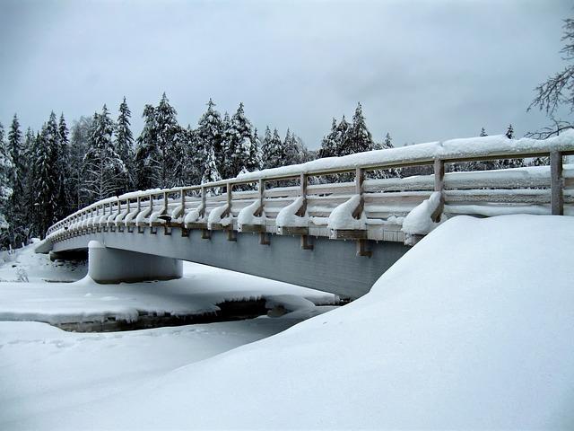 Free finland bridge stream river water architecture