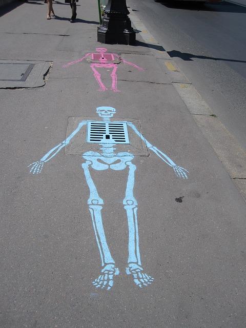 Free chalk drawing skeleton sewer
