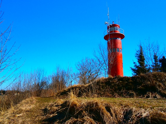 Free blue red lighthouse