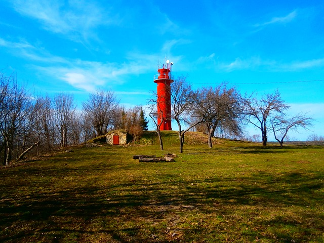 Free red lighthouse sky green spring
