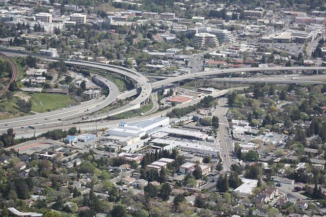 Free freeway overpass suburbia traffic aerial
