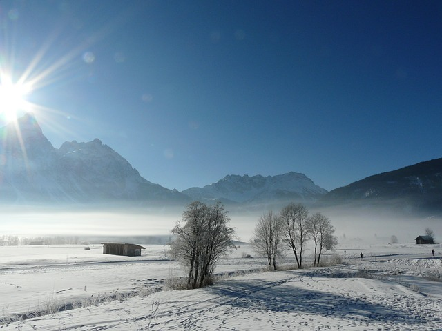 Free wintry mountains austria fog snow nature