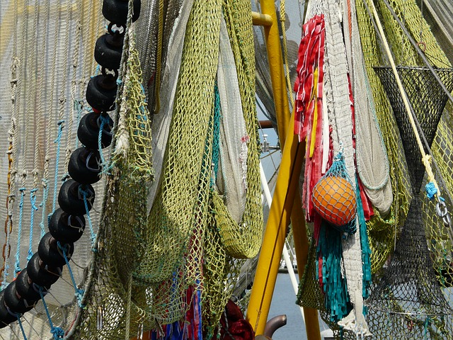 Free ship abstract fischer fishing nets north sea port