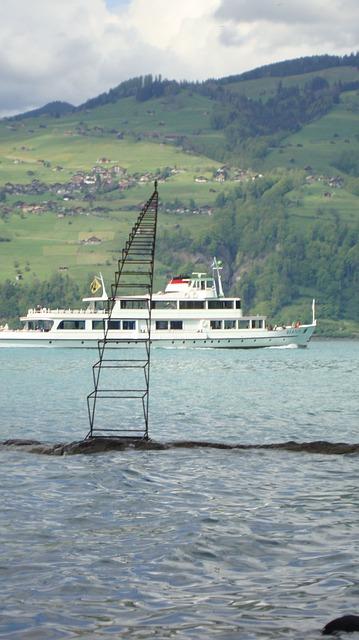 Free art see plastic water waters lake thun ship