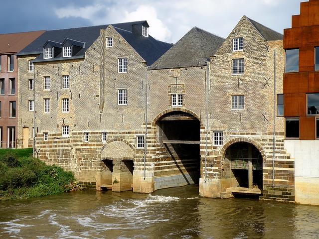Free aarschot belgium river water reflections buildings