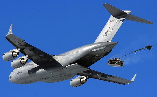 Free               cargo jet c-17 airdrop humvee sky clouds flight