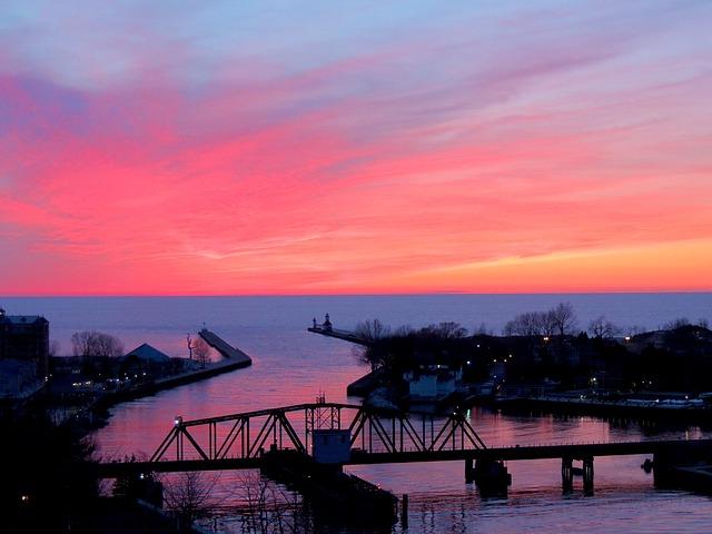 Free lake michigan sunset sky clouds bridge trees