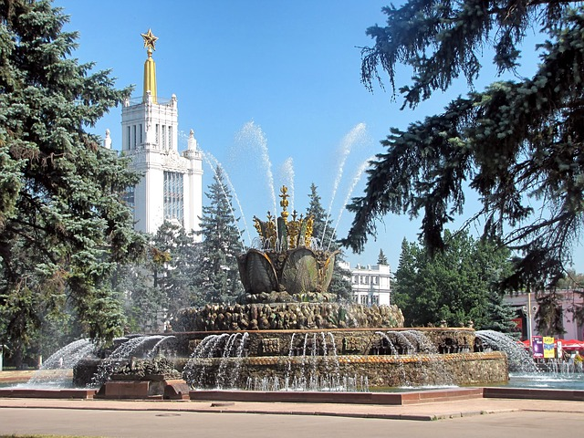 Free moscow russia fountain water sculpture buildings
