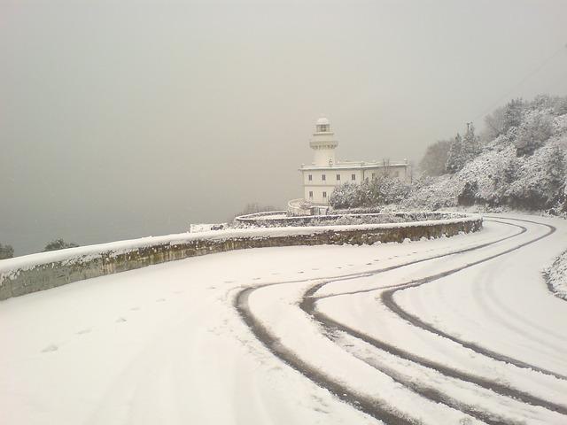 Free igeldo lighthouse san sebastian snowy landscape