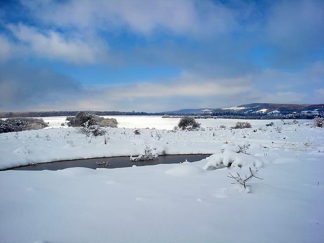 Free landscape scenic winter snow ice sky clouds