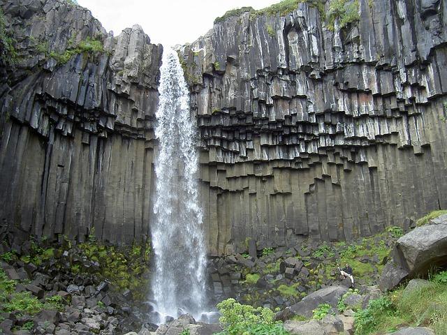 Free svartifoss waterfall basalt iceland formation rock